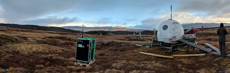 The ICOS station in Abisko, Sweden, with our PTR-TOF-MS box and the helicopter that transported it to the site